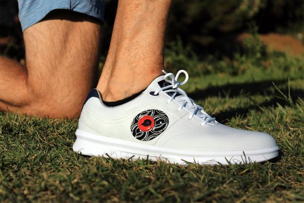 The Original Cap Magnet patch on golf shoe